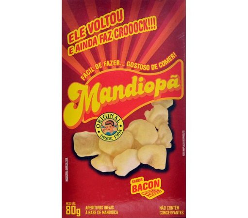 Mandiopã (Aperitivo de Mandioca) sabor Bacon 80 g