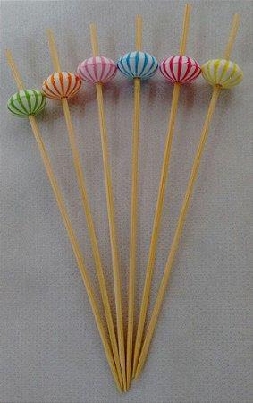 Espeto de Bambu decorado Balão 12 cm com 25 unidades
