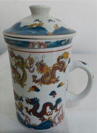 Caneca de Porcelana Decorada com Infusor - Dragão