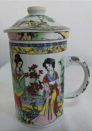 Caneca de Porcelana Decorada com Infusor - Gueixa Bambu