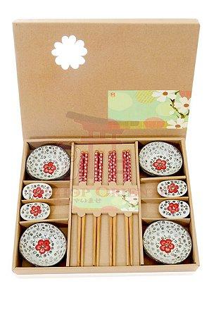 Kit Sushi 12 peças - Vermelho Florido
