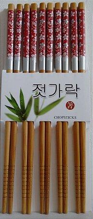 Hashi de Bambu com 5 pares - Florido Vermelho