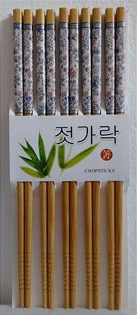 Hashi de Bambu com 5 pares - Florido Azul e Rosa