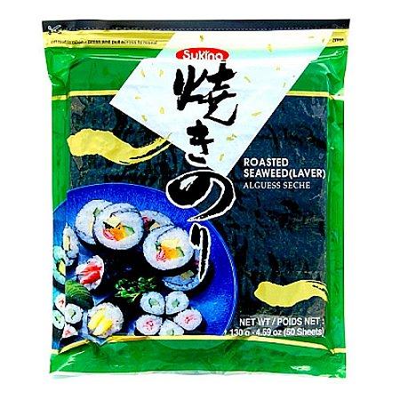 Nori - Alga Marinha para Sushi e Temaki com 50 folhas - Sukina