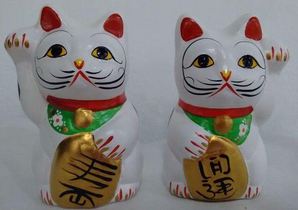 Casal de Gato da Sorte (Maneki Neko) 10 cm (C10)