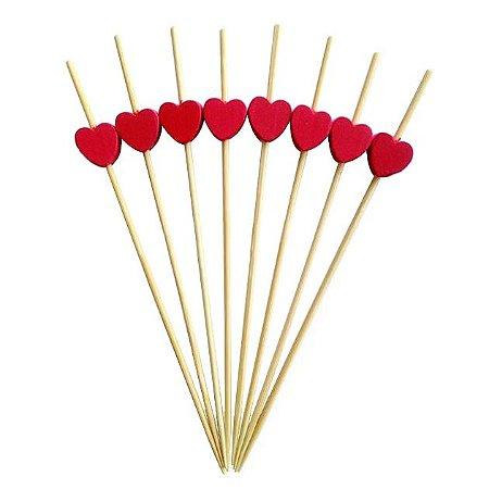 Espeto de Bambu decorado Coração Vermelho 12 cm com 25 unidades