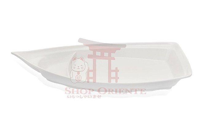 Barco Médio para Sushi e Sashimi Branco 33 cm