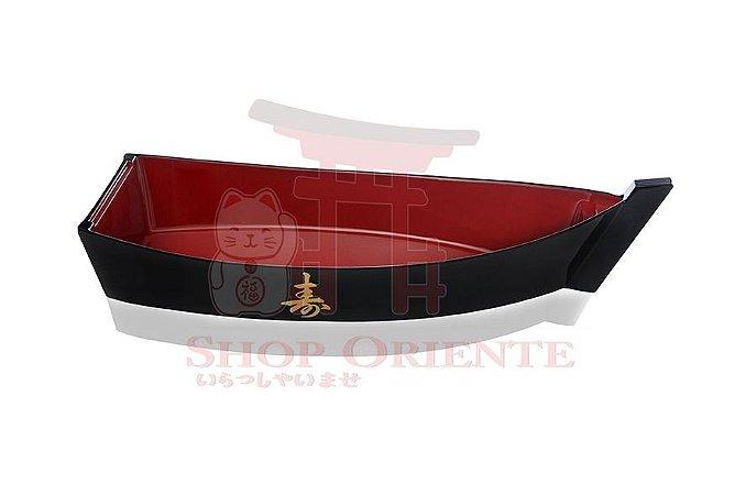 Barco Pequeno para Sushi e Sashimi (Kobune) com Ideograma Japonês