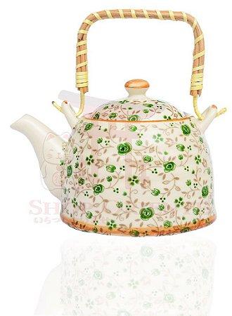 Chaleira de Porcelana Florido Verde 0,5 litro