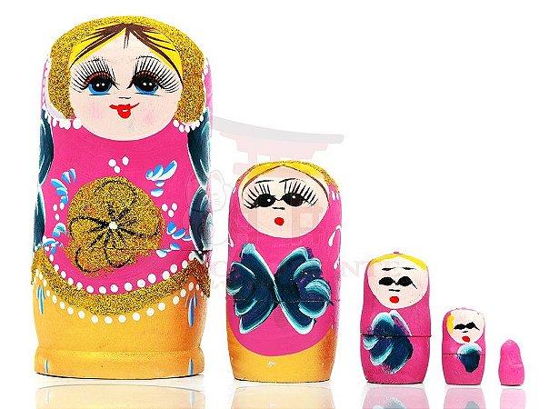 Matrioshka (Boneca Russa) Rosa 17 cm