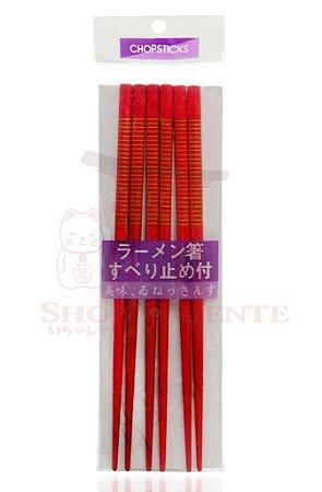 Hashi de Bambu VERMELHO com Listras - 3 pares