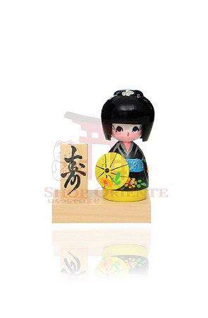 Mini Kokeshi com Base - Kassa Preto e Amarelo
