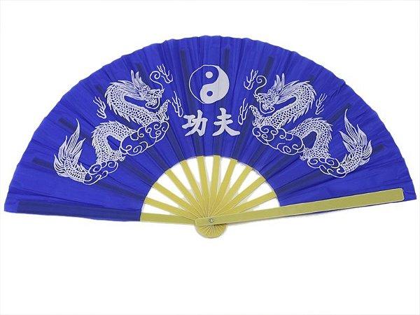 Leque Taichi Azul - Dragão
