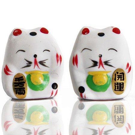 Casal de Gato da Sorte (Maneki Neko) 4 cm (P2)