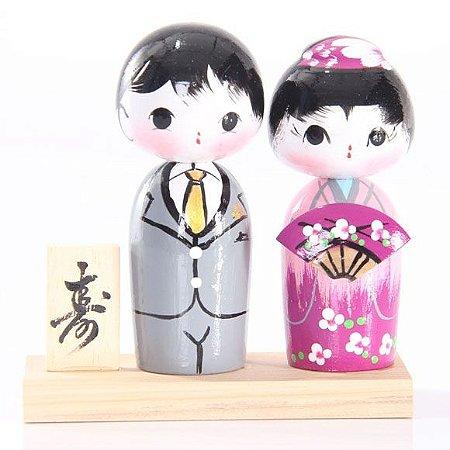 Casal de Kokeshi com Base - Cinza e Roxo