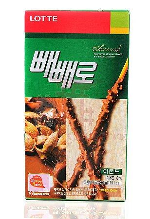 Biscoito Palito com cobertura de Chocolate e Amêndoas (Pepero Almond) 36 g - Lotte