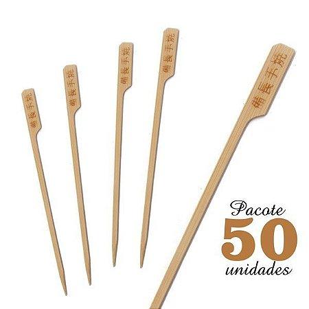 Espeto de Bambu decorado Ideograma 15 cm com 50 unidades