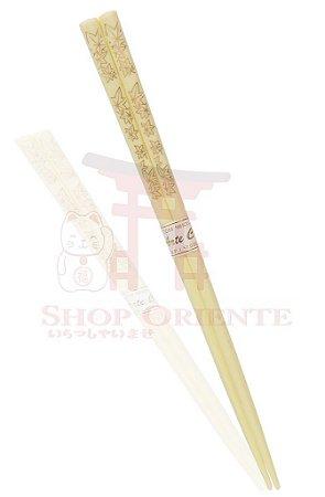 Hashi de Plástico BEGE MOMIJI DOURADO