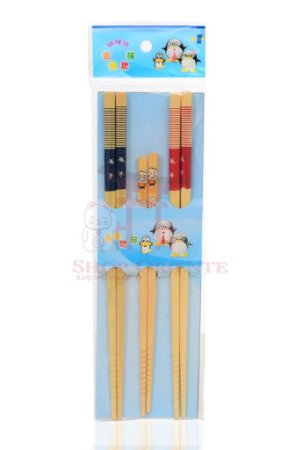 Hashi de Bambu Decorado com 3 pares - AZUL E VERMELHO