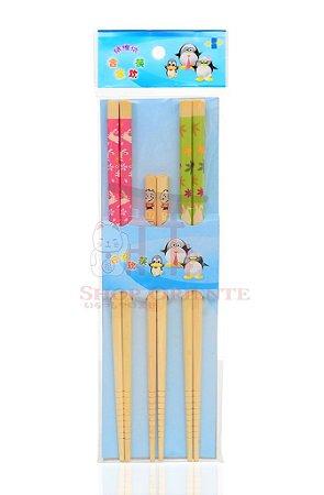Hashi de Bambu Decorado com 3 pares - ROSA E VERDE