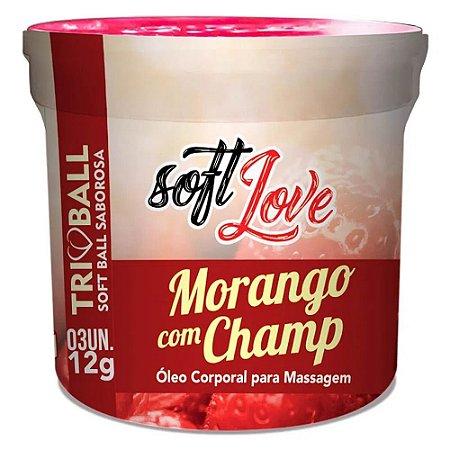 Bolinhas Soft Ball Triball Saborosa Morango com Champ com 3 Unidades