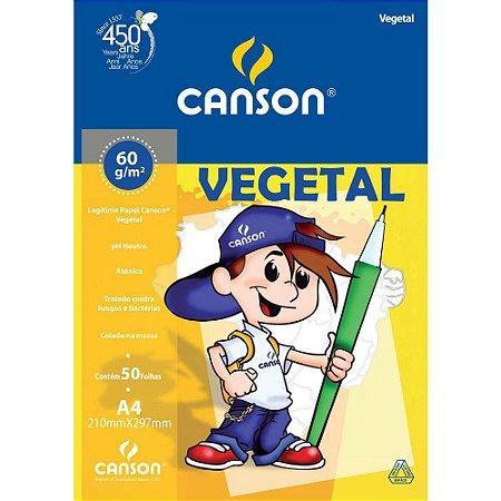 Bloco Vegetal 60 G/m² Escolar A-4 21,0 X 29,7 Cm Com 50 Folhas Canson