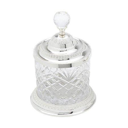 Pote Multiuso Zamac Cristal Prateado 10,5 cm x 16,5 cm
