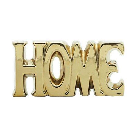 Palavra Decorativa De Cerâmica Home Dourada 18,5x3,5x9cm