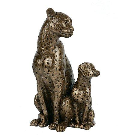 Escultura 2 Leopardo Resina 14X12X25,4