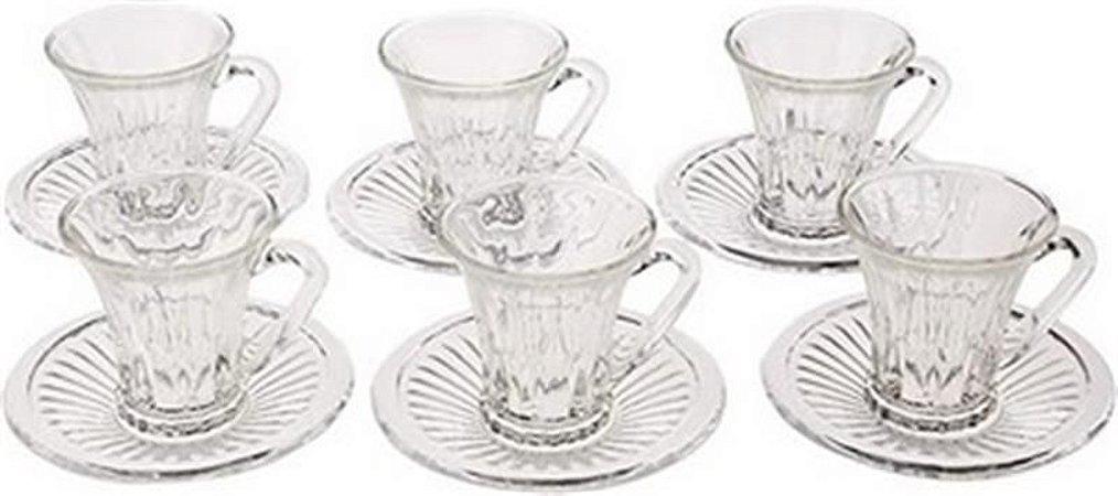 Jogo Xícara Café 6 peças Cristal Diamond