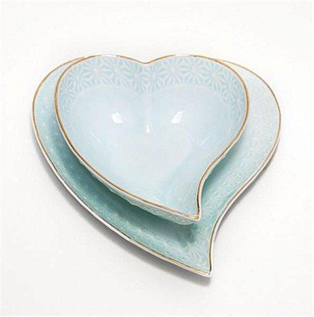 Jogo Petisqueira Coração com Pires Azul Borda Alto Relevo