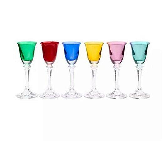 Jogo 6 Taças Licor Cristal Bohemia Kleopatra 50ml Coloridas