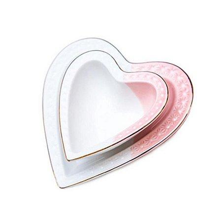 Jogo Petisqueira Coração com Pires Rosa e Branco
