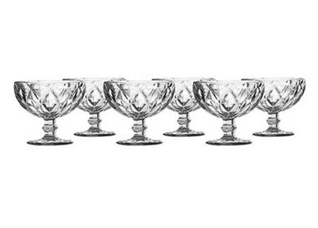 Jogo 06 taças sobremesa Diamond Transparente 390ML