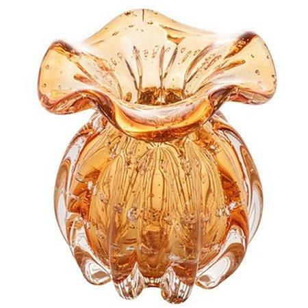 Vaso Murano de Vidro Italy Amber e Dourado 10x1