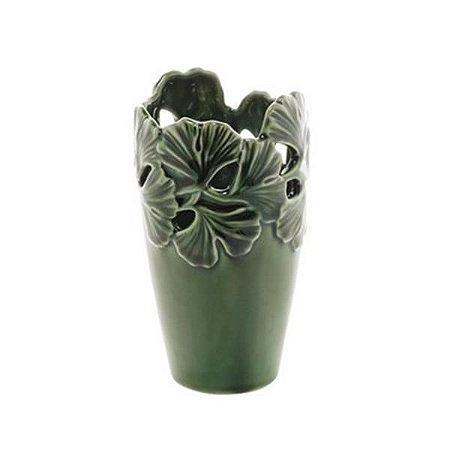 Vaso Decorativo Porcelana Leaf Verde 10x1