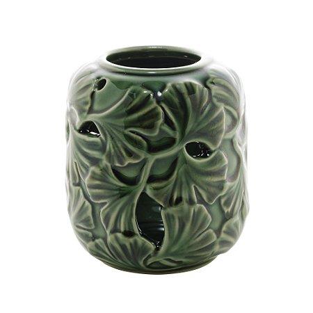 Vaso Decorativo Porcelana Leaf Verde 9x1