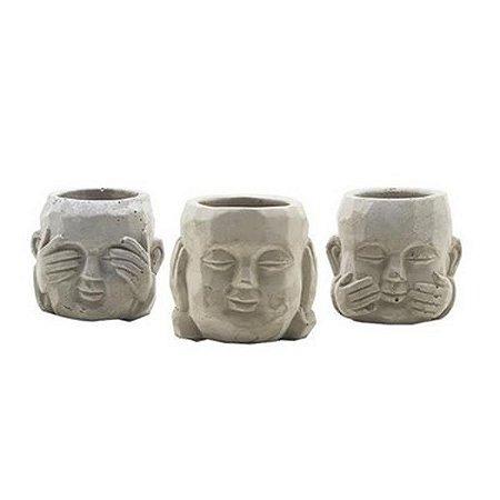 Kit Cachepot em Cimento Buda 03 peças
