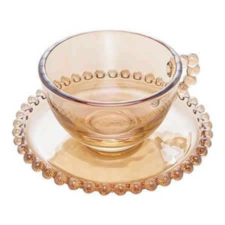 Conjunto 4 Xicaras Chá Cristal com Pires Pearl Ambar 200 ML