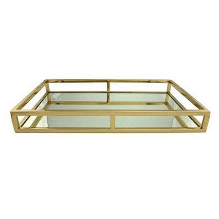 Bandeja Aço Inox Dourada Com Espelho Wollf 41x26x5cm