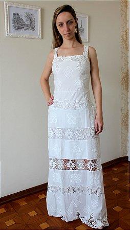 Vestido Branco Longo Em Laise Kitson