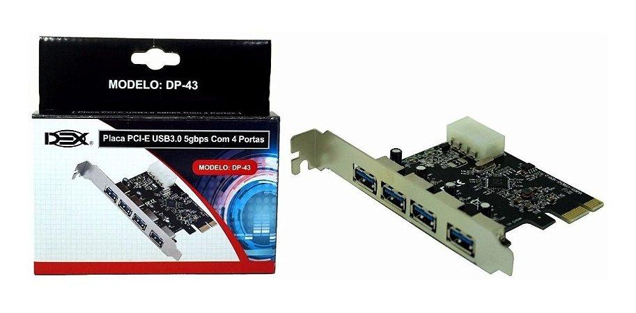 Placa Pci-e Usb 3.0 Com 4 Portas DP-43