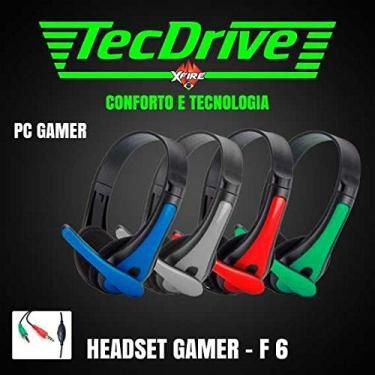 Fone De Ouvido Azul Headset Gamer Para Pc (2 P2) F-6 - Tecdrive