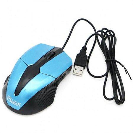 Mouse Óptico USB Plug-X M-203 Azul