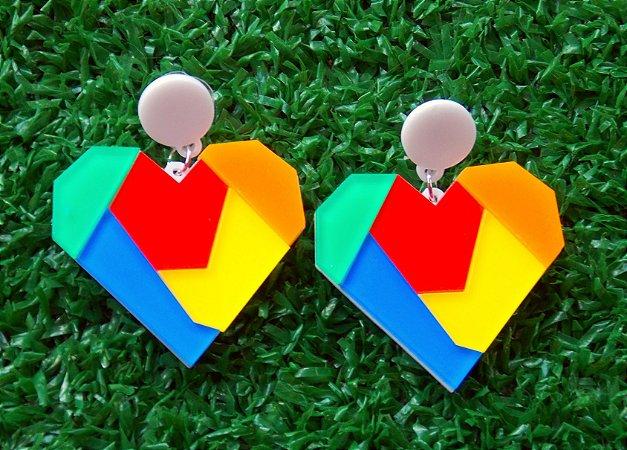 Brincos Amor em Origami