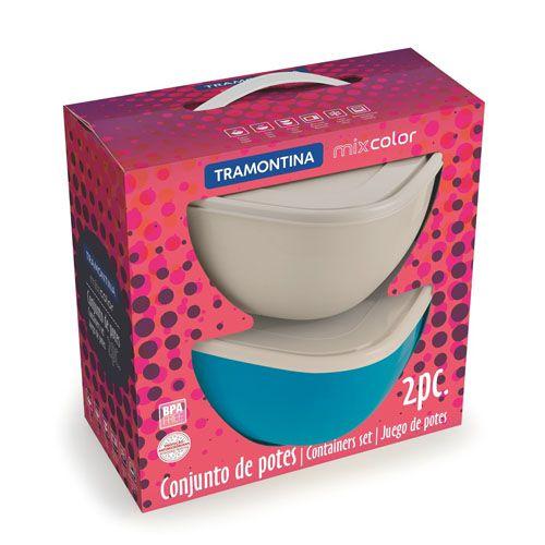 Conjunto de potes Mix Color 4 litros 2 peças Tramontina cinza e azul