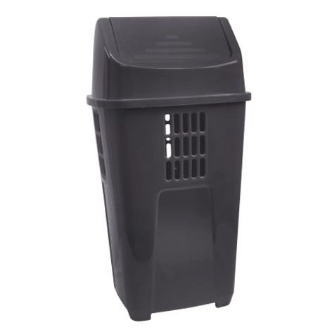 Lixeira basculante 50 litros preta Plasvale