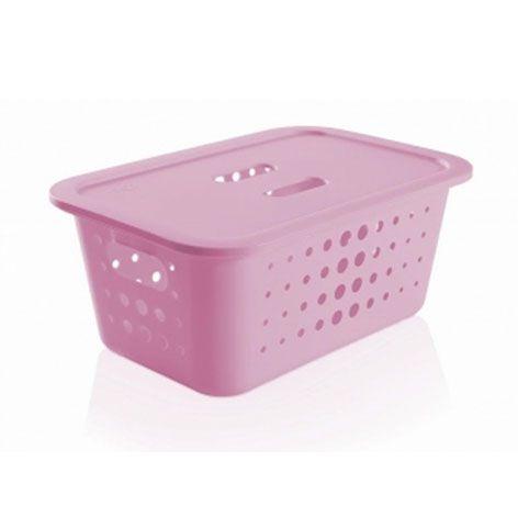 Caixa organizadora M com tampa - Rosa Quartz - Ou