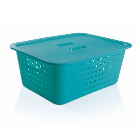 Caixa organizadora G azul fechado com tampa - Ou