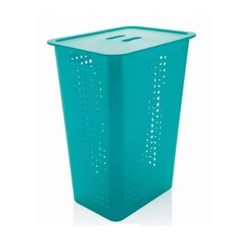 Cesto de roupas 47 litros com tampa azul fechado - Ou